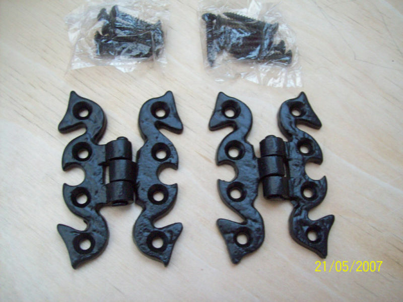 10 X Black Antique Ornate Cabinet Butterfly Hinges