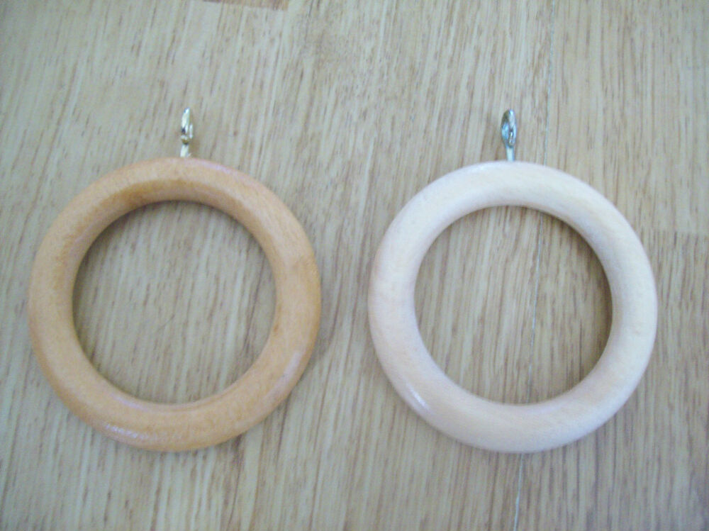 10 X Large Wooden Wood Curtain Drapery Pole Rings Ebay