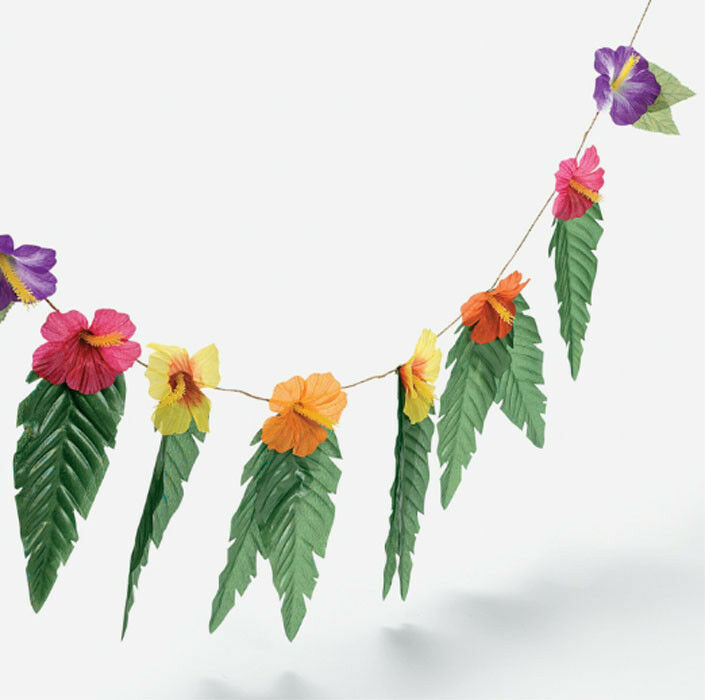 4 hibiscus flowers leaves garland luau party decor for Decoration leaves