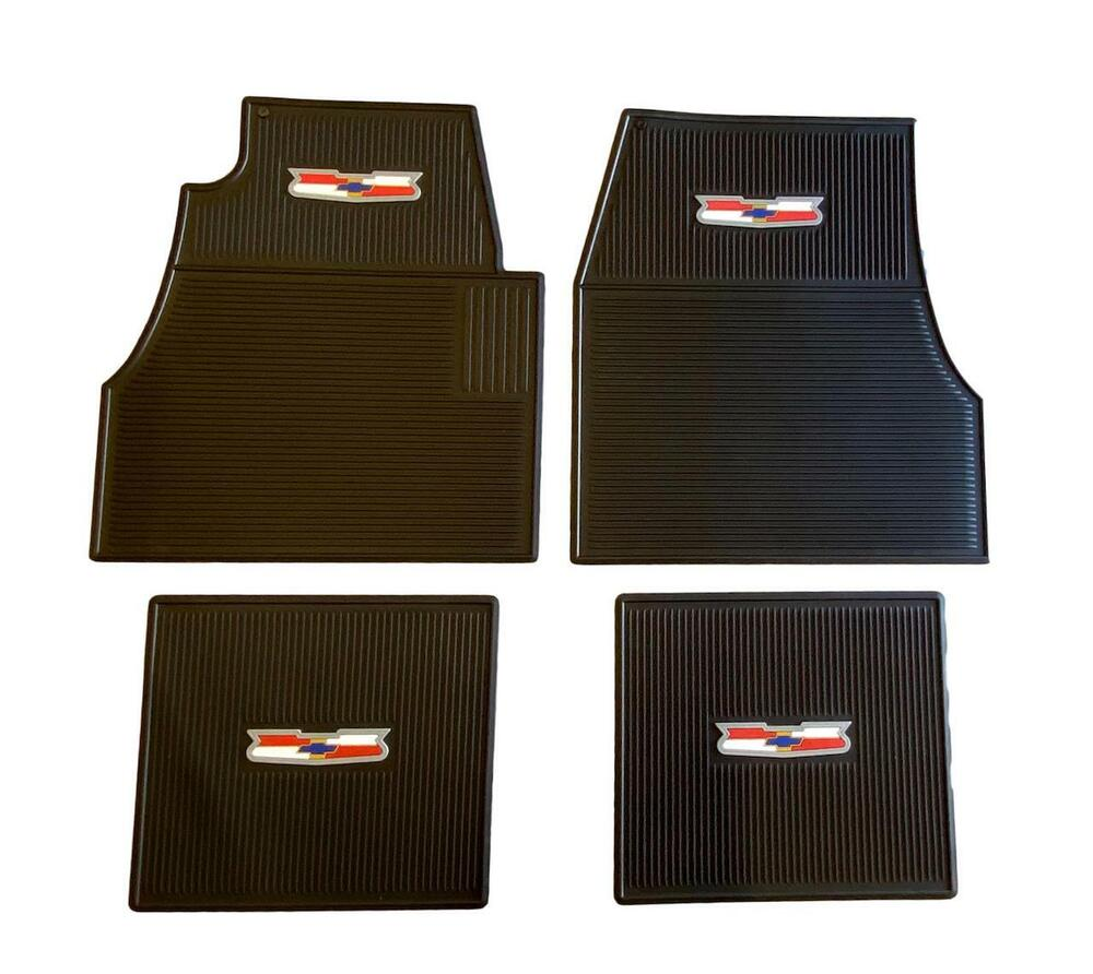 55 56 57 Chevy Black Floor Mats With Crest Logo NEW