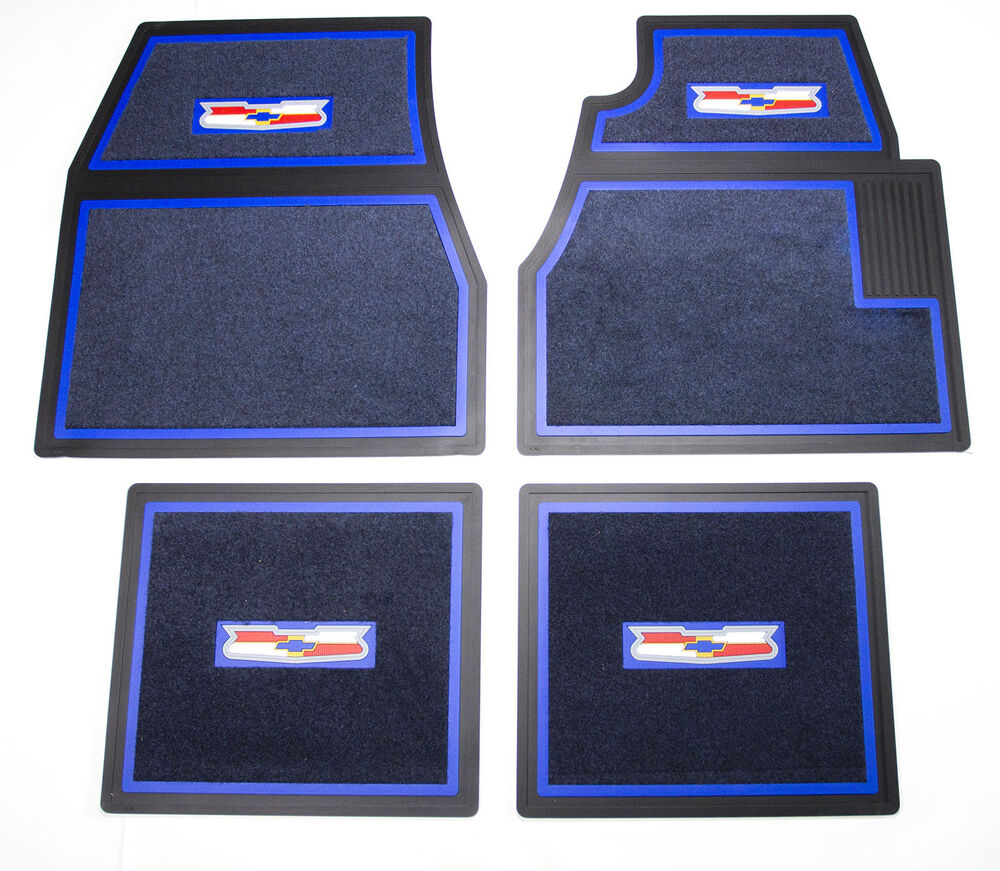 55 56 57 Chevy BLUE Carpet Floor Mats With Crest Logo