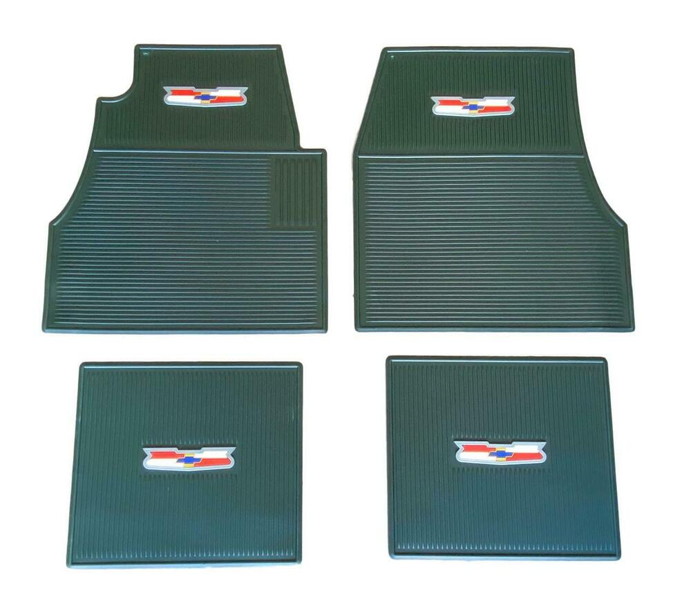 55 56 57 Chevy Green Floor Mats With Crest Logo NEW