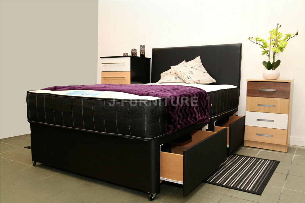 4ft 4ft6 double divan bed any mattress storage headboard for Double divan with 4 drawers