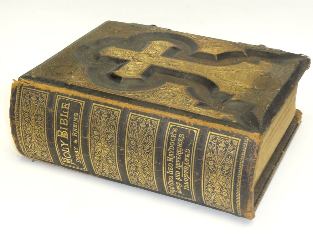 RARE 1884 CATHOLIC ANTIQUE FAMILY BIBLE HAYDOCK DOUAY ...