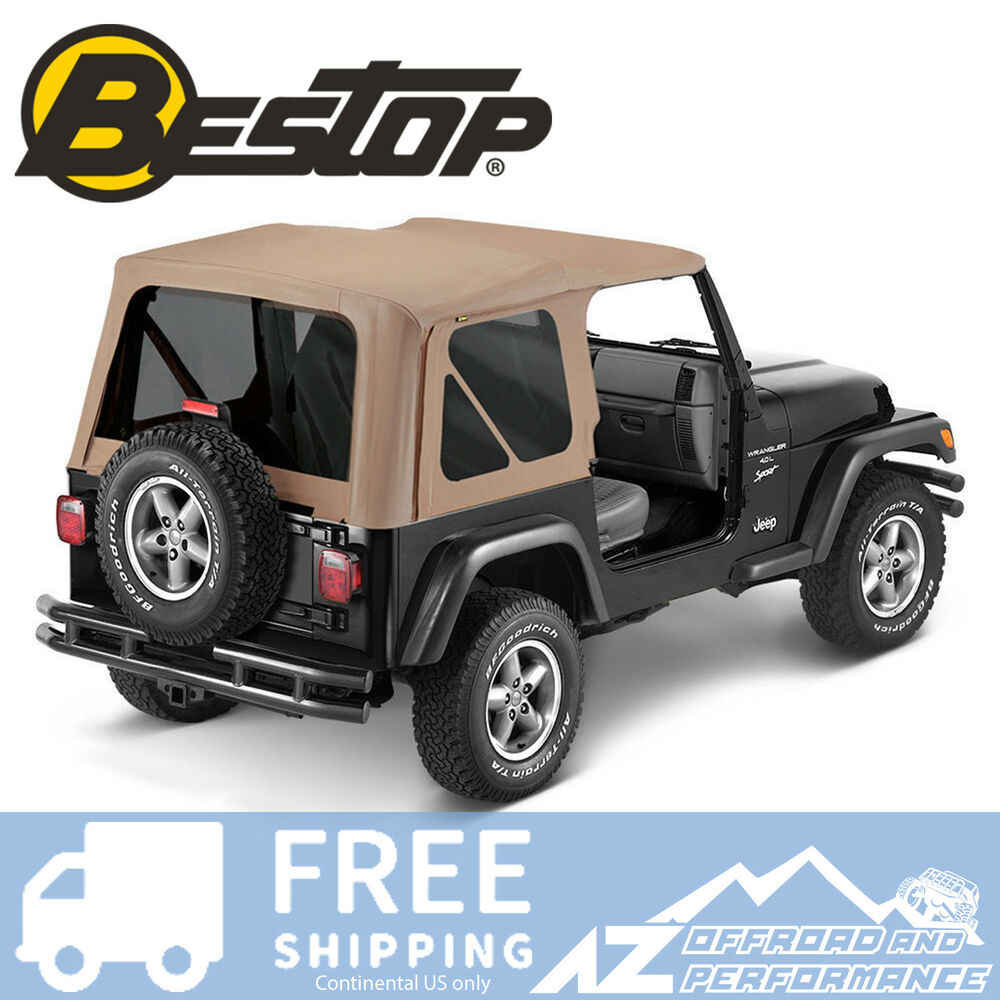 bestop replace a top 97 02 jeep wrangler tj tinted windows dark tan ebay. Black Bedroom Furniture Sets. Home Design Ideas