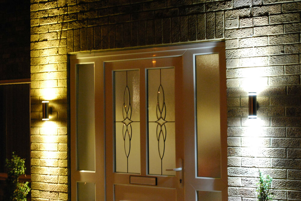 Modern stainless steel double outdoor wall light up and for Exterior up down wall light