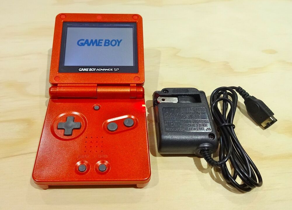 Game Boy Advance Sp : Nintendo game boy advance gba sp flame red system ags
