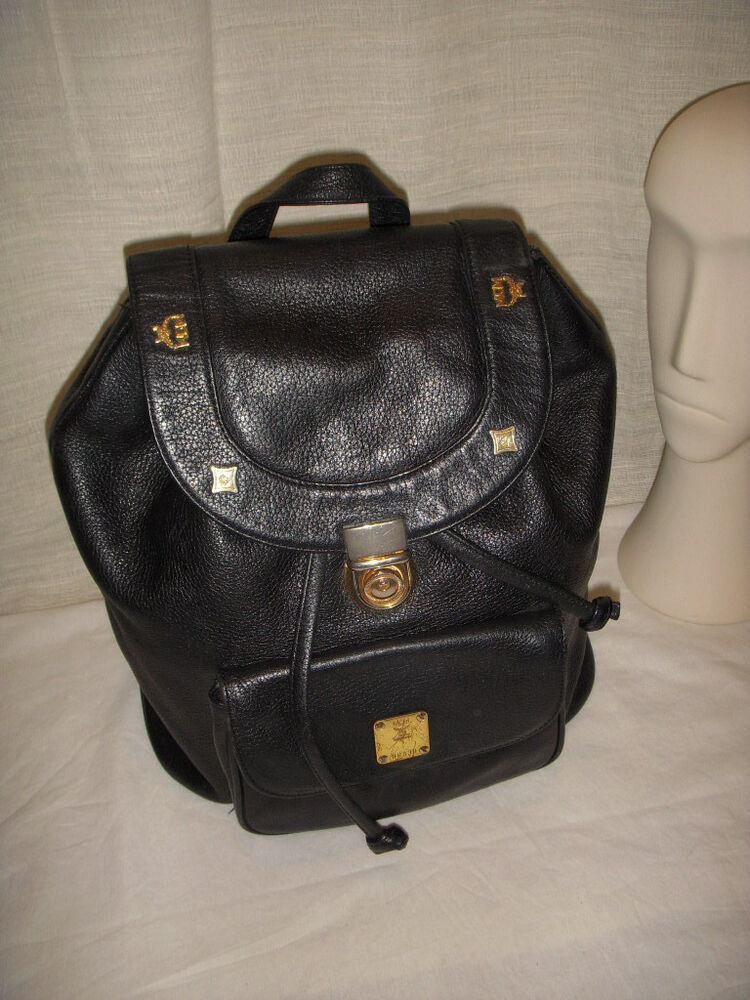 Vintage Mcm Black Leather Backpack Back Purse Ebay