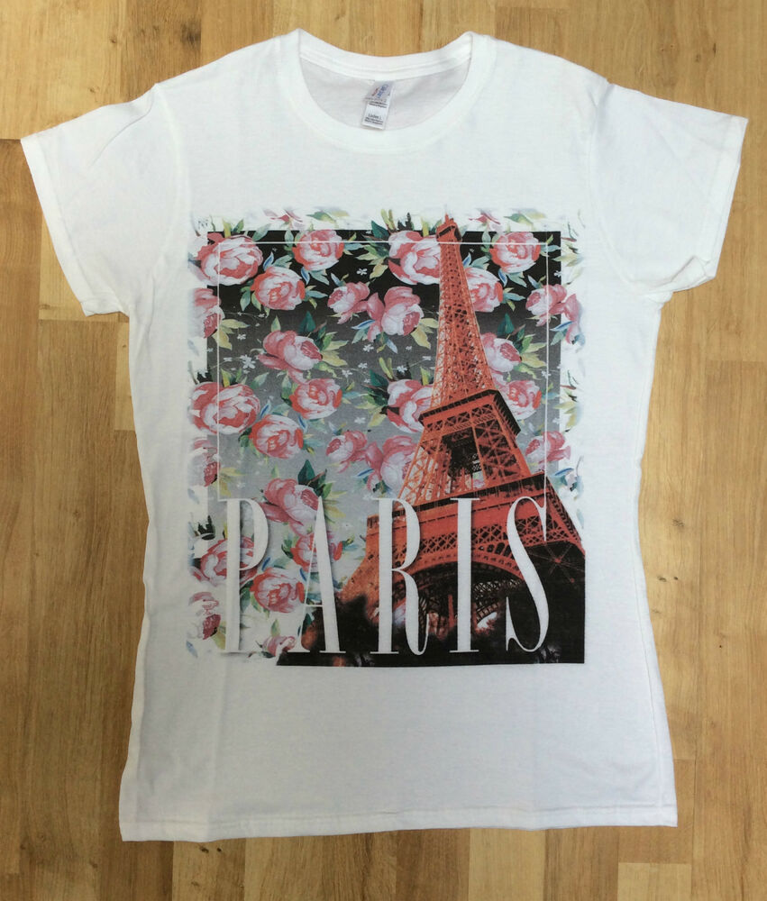 Brand new women white t shirt with paris flower print for White floral shirt womens