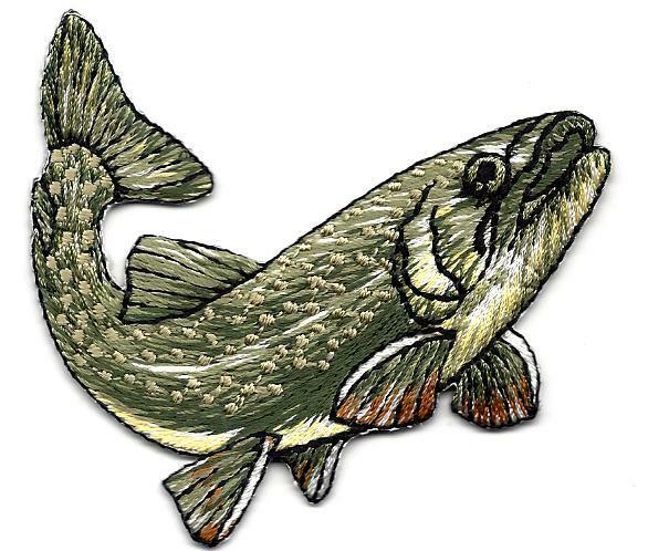 Fishing freshwater fish iron on embroidered applique for Iron in fish