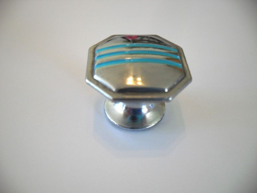 Vtg 50 39 s chrome octagon knobs turquoise lines drawer for Turquoise door knobs