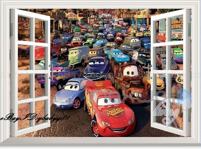 Large disney car mcqueen mater 3d window wall sticker for Disney cars large wall mural