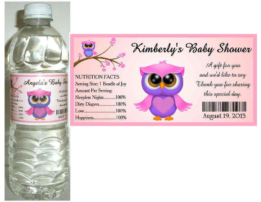 20 pink owl baby shower water bottle labels waterproof ink glossy