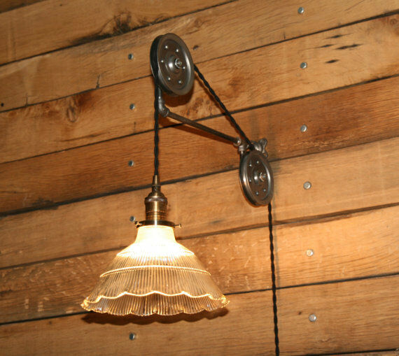 Wall Mounted Pendant Lights : Large Pulley Wall Mount FOR YOUR Pendant Light - Industrial Pulley Mount Only eBay