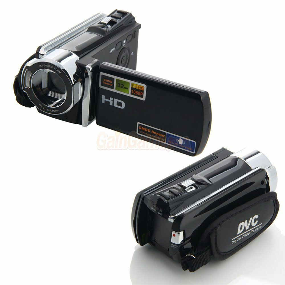 hd 1080p digital video camcorder full 16x digital zoom dv camera kit black ebay. Black Bedroom Furniture Sets. Home Design Ideas