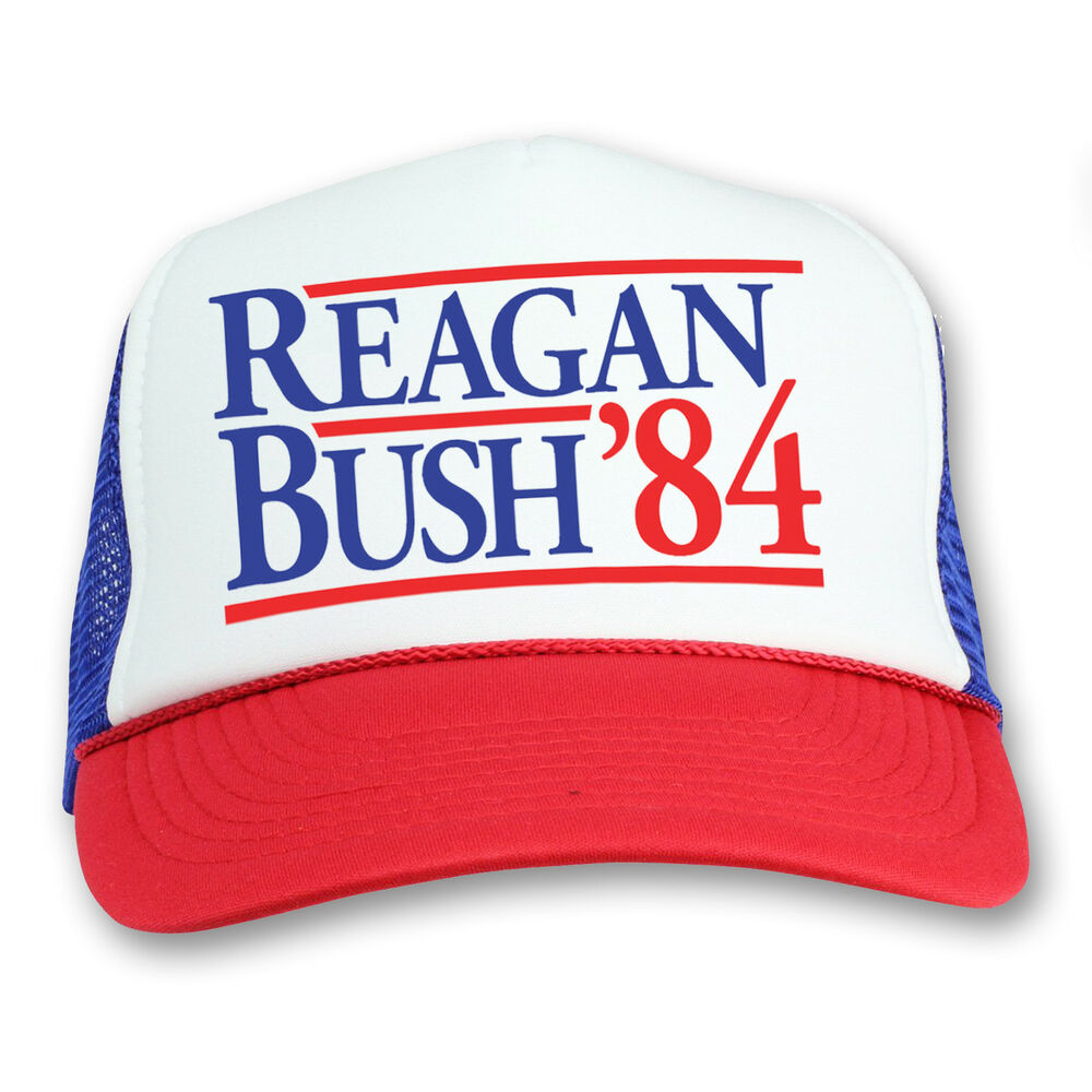 5c631c3572675 Details about Ronald Reagan George Bush 84 Campaign Trucker Hat Vintage  Political Retro Cap