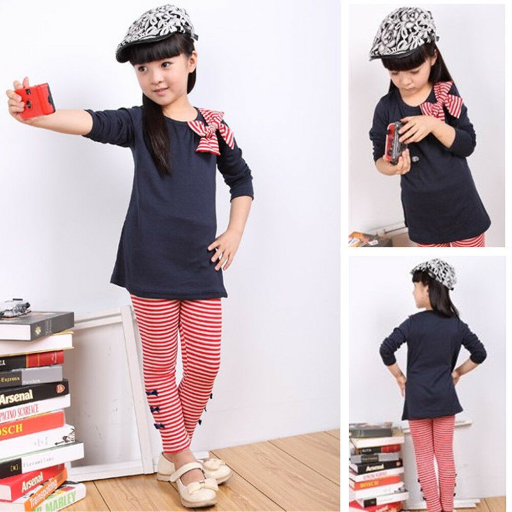 Kids clothes size 4 8 girls outfits bows long sleeve t for Girls shirts size 8
