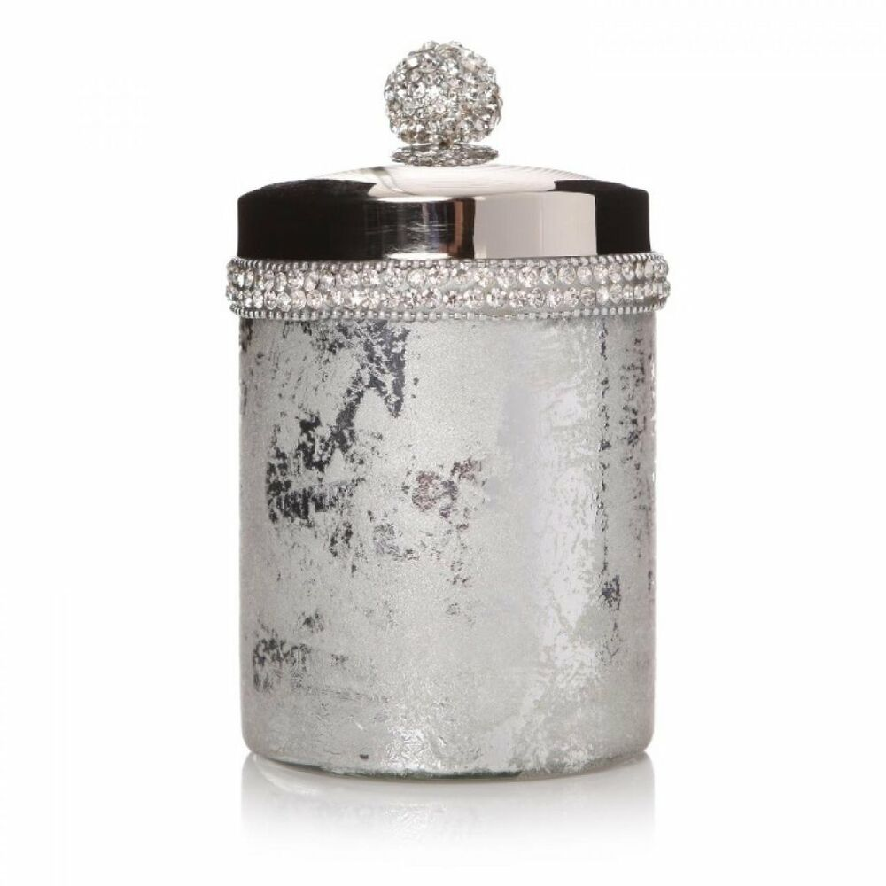 Mosaic crackle bathroom cotton wool jar pot container bath for Silver crackle bathroom accessories