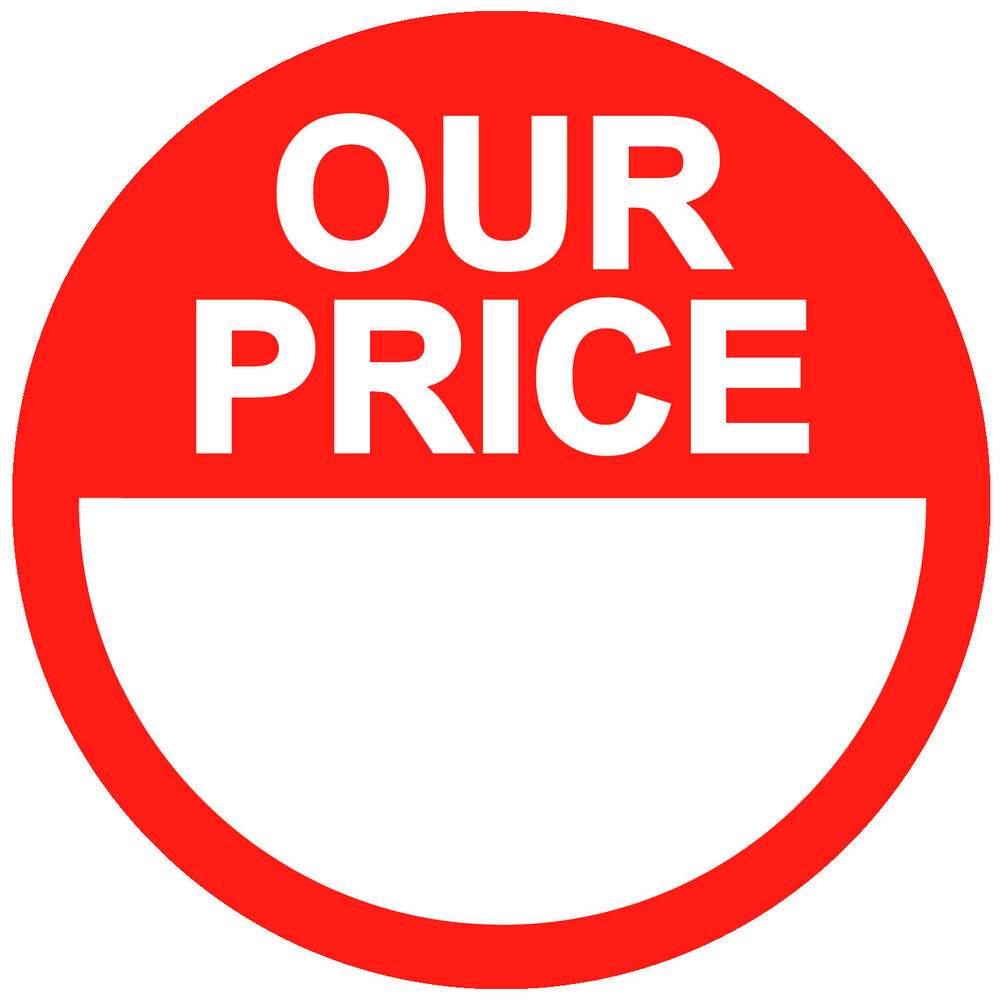 Blank Red Our Price Stickers / Sticky Swing Tag Labels