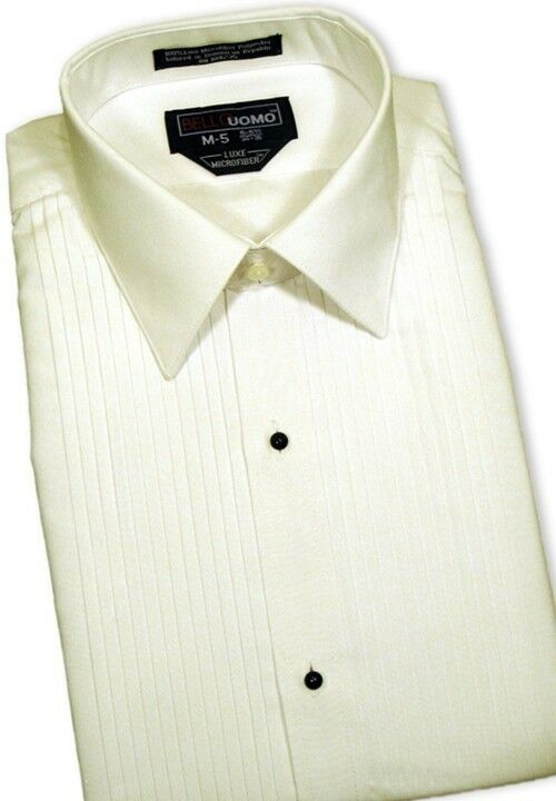 New Mens Ivory Off White Slim Fit Microfiber Tuxedo Shirt