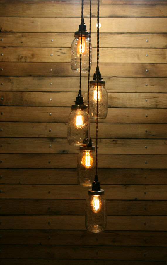 diy 5 jar pendant light mason jar chandelier light kit staggered length hang ebay. Black Bedroom Furniture Sets. Home Design Ideas