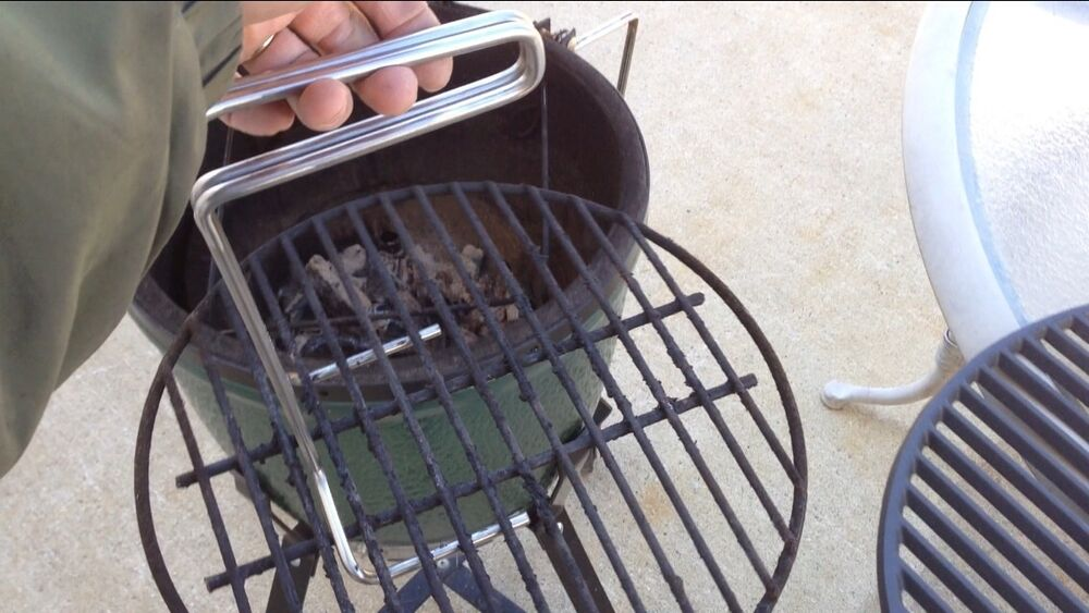 stainless steel ott grid grill grate lifter tool for weber charcoal primo bbq ebay. Black Bedroom Furniture Sets. Home Design Ideas