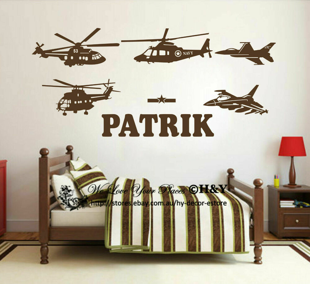 Wall Art Decals Custom : Custom personalised name aircraft plane wall art stickers