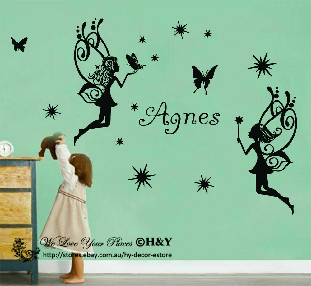 Name 2 Large Fairy Wall Art Sticker Kids Baby Vinyl Decal AU EBay