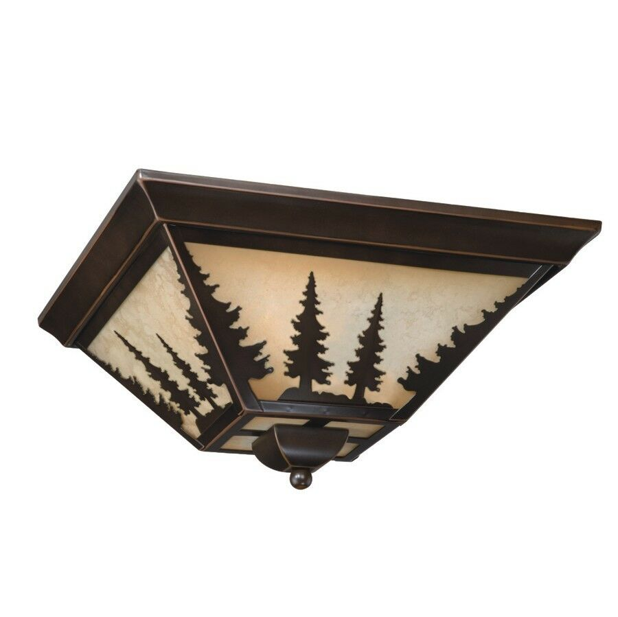 NEW 3 Light Rustic Tree Flush Mount Ceiling Lighting