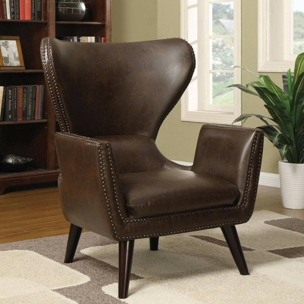 Accent Unique Transitional Chair High Back Leather Seat