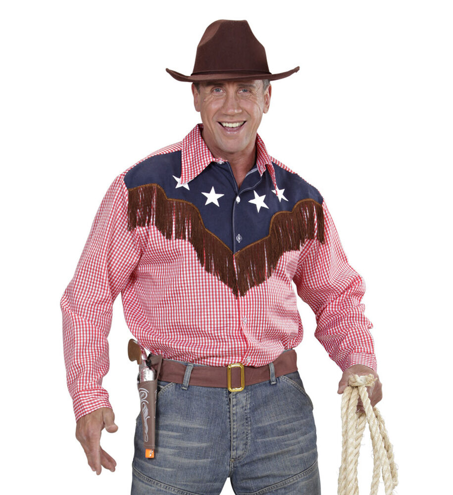 Men 39 s rodeo cowboy western checked shirt fancy dress for Ranch dress n rodeo shirts
