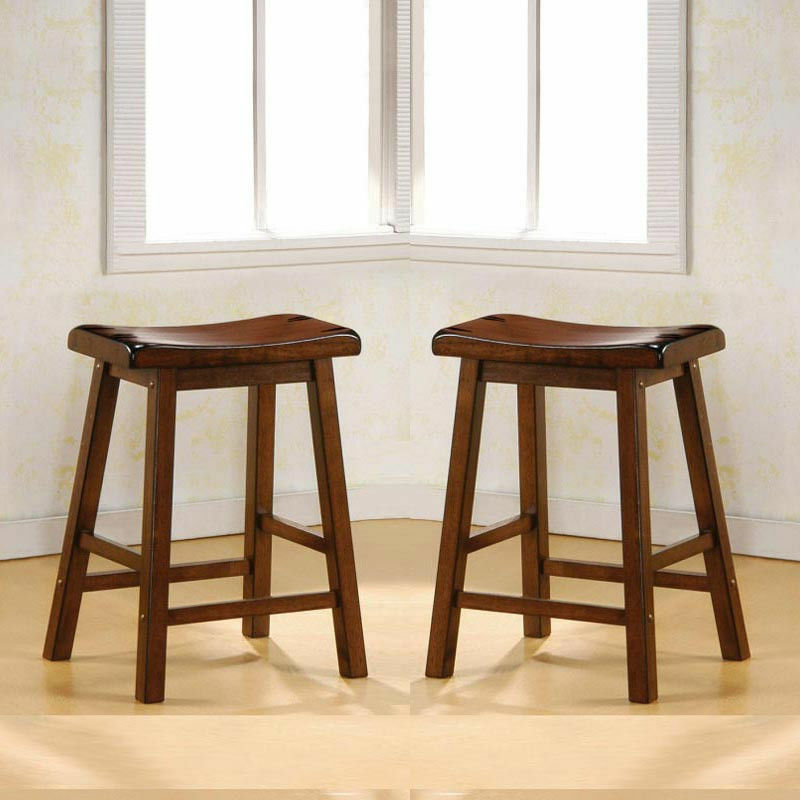 Set Of 2 Dark Walnut Solid Wood 24 Quot H Saddle Counter Height