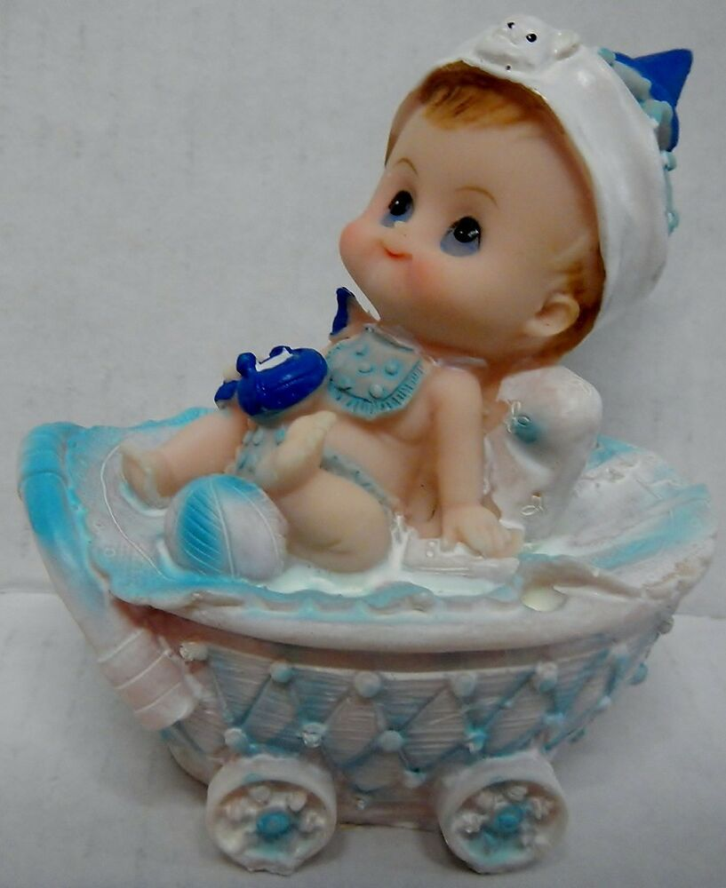 Collectible Figurine 9042 BABY BOY W/ Hat In Buggy Gift Shower Cake