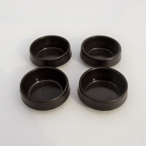4 Brown Castor Cups Furniture Chair Leg Floor Carpet