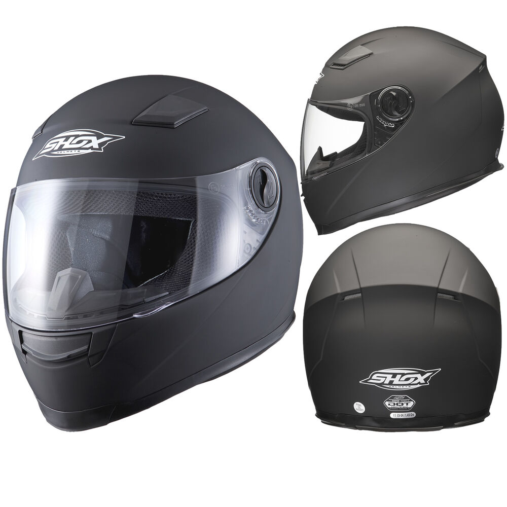 Shox Sniper Solid Matt Black Motorcycle Helmet Full Face ...