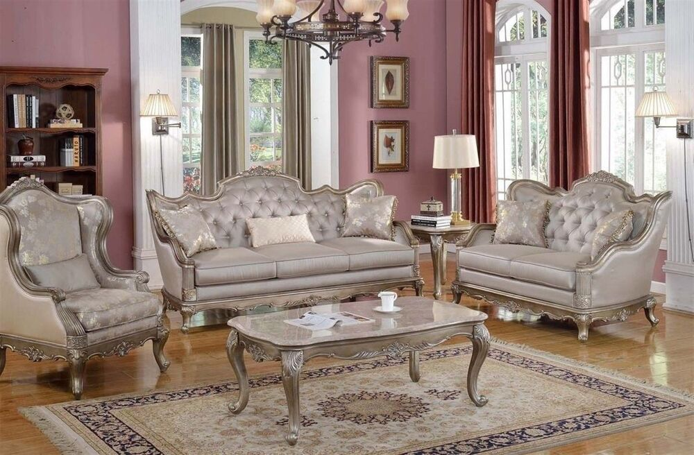 Elegant Traditional Antique Style Sofa & LoveSeat Formal Living ...