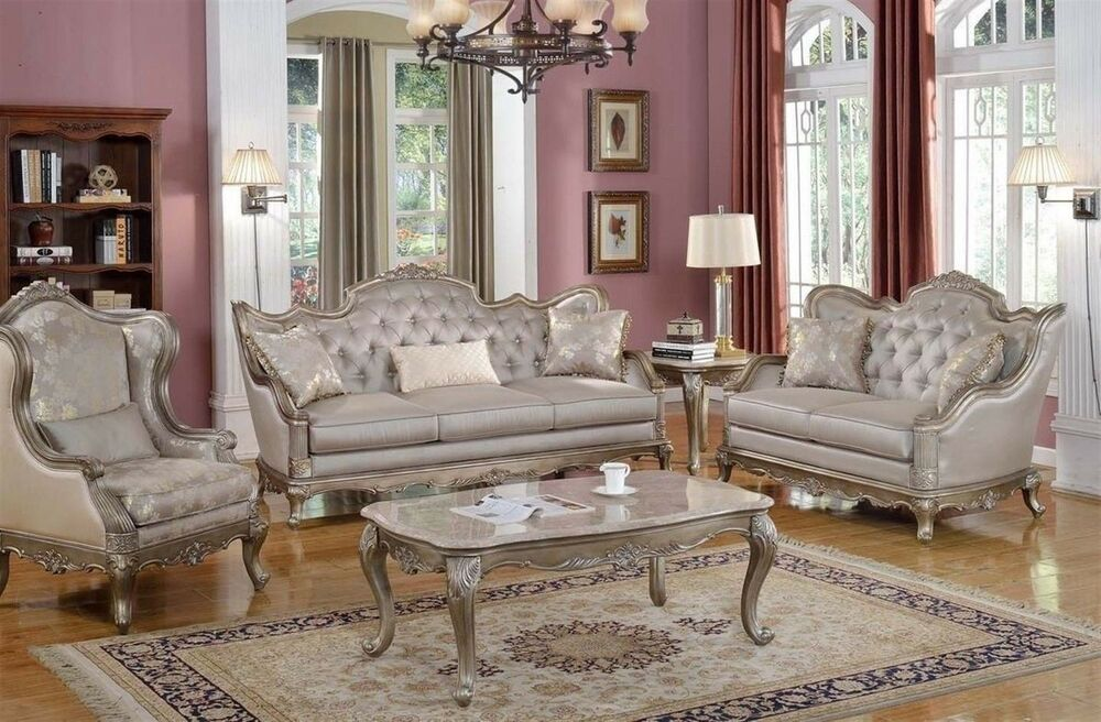 Living Room Sets Traditional elegant traditional antique style sofa & loveseat formal living