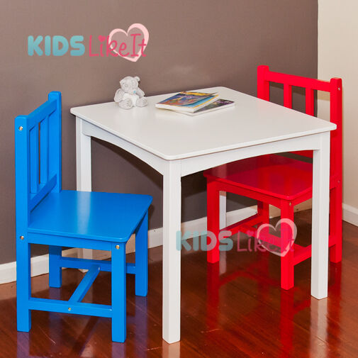 kids boys nz timber wooden 60cm large square table chairs set white red blue ebay. Black Bedroom Furniture Sets. Home Design Ideas