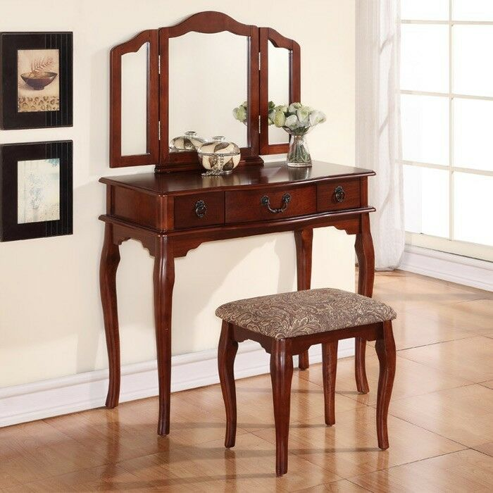 Tri Folding Mirror Cherry Wood Vanity Set Makeup Table