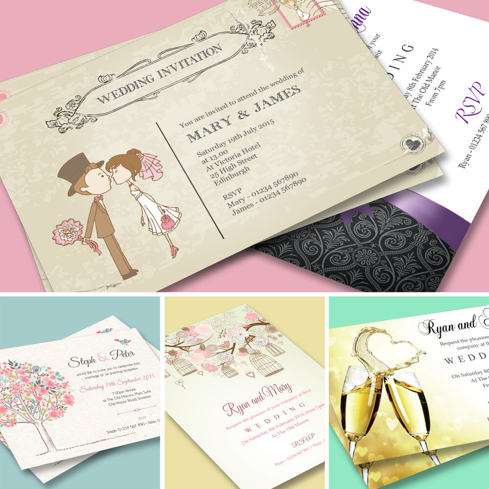 100 Personalised Wedding Day and Evening Invitations with Envelopes ...