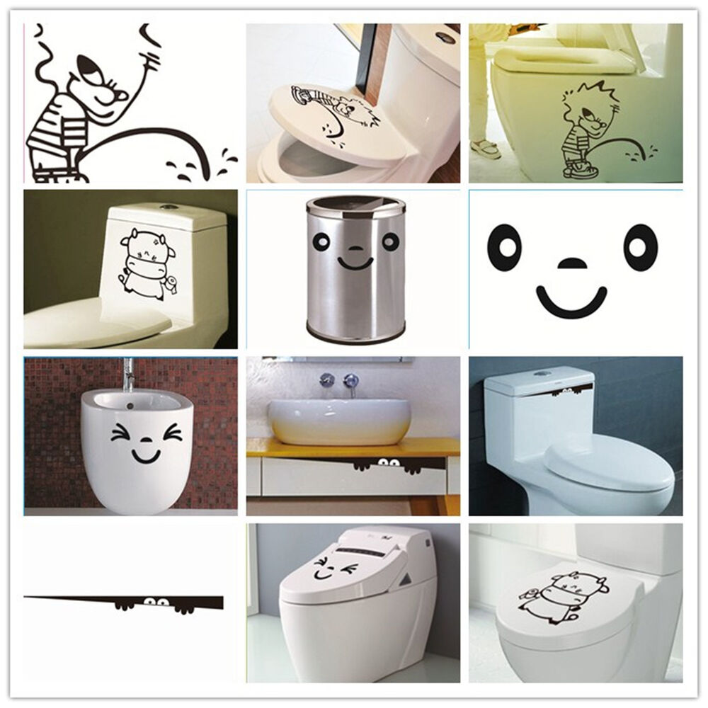 Creative toilet monster home decor bathroom decal funny for Funny home decor
