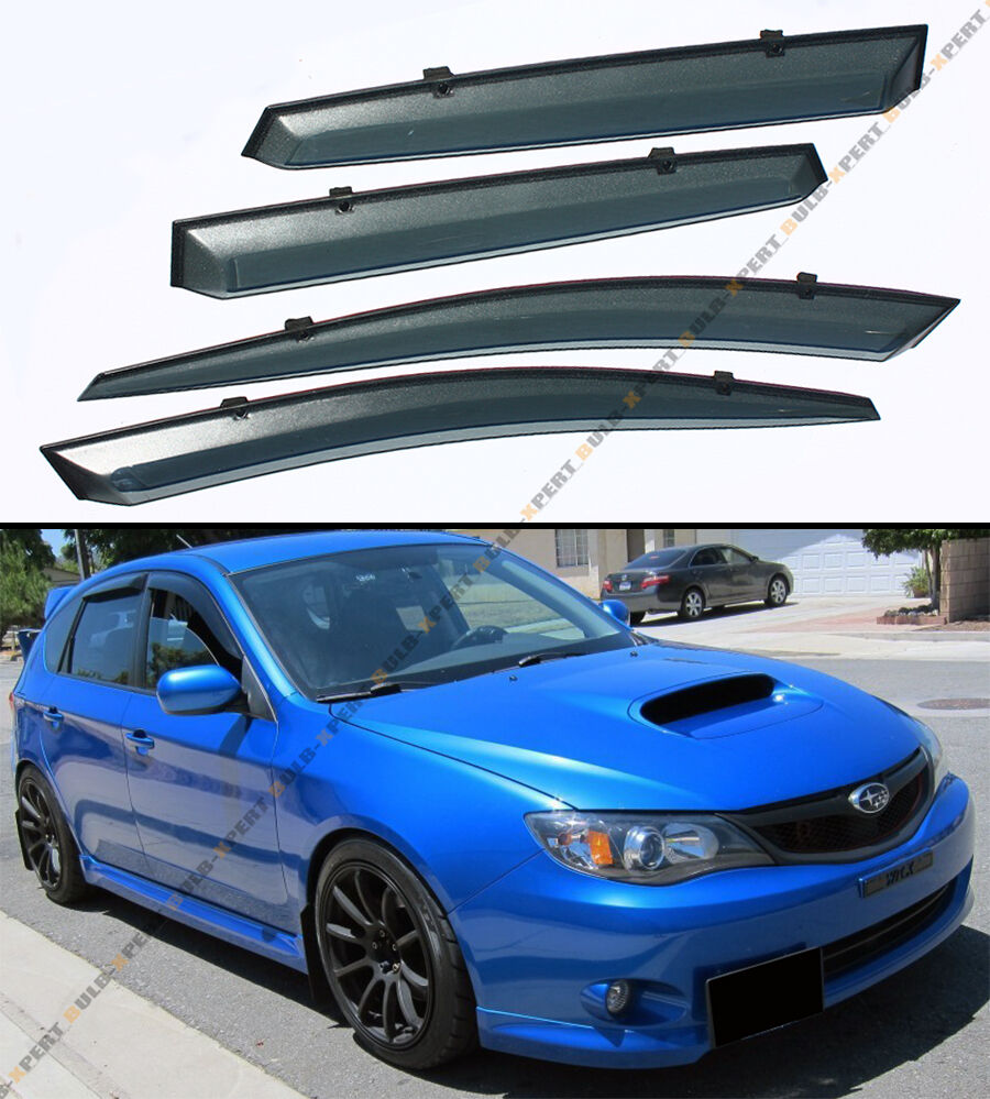 08 14 subaru impreza wrx sti jdm clip on smoke tinted window visor vent guard ebay. Black Bedroom Furniture Sets. Home Design Ideas