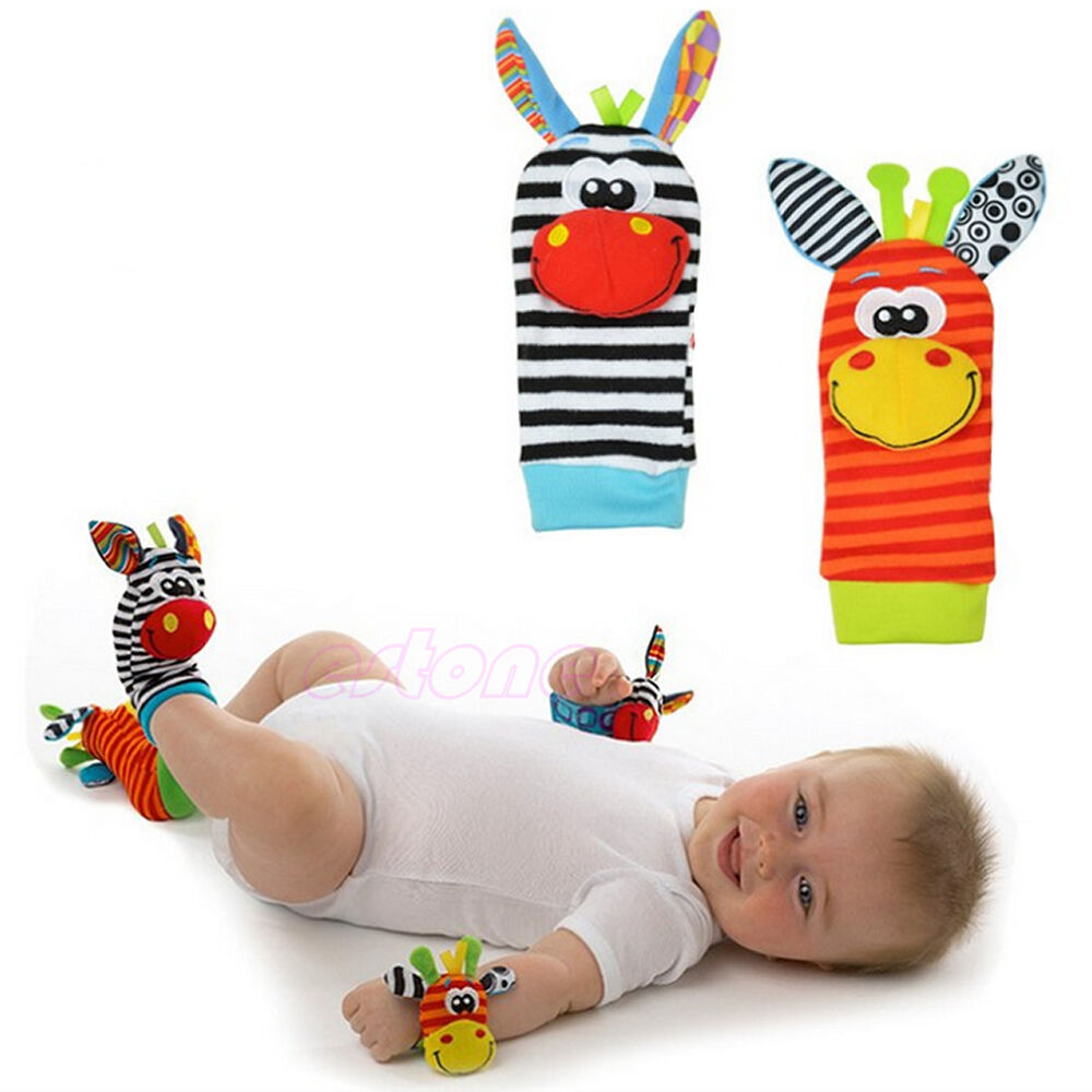 1pairs Animal Baby Infant Kids Foot Sock Rattles Toys