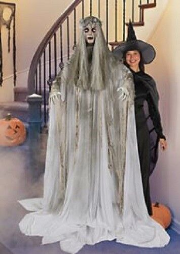 Halloween life size ghost woman flashing eyes prop decoration haunted house ebay - Diy halloween ghost decorations ...