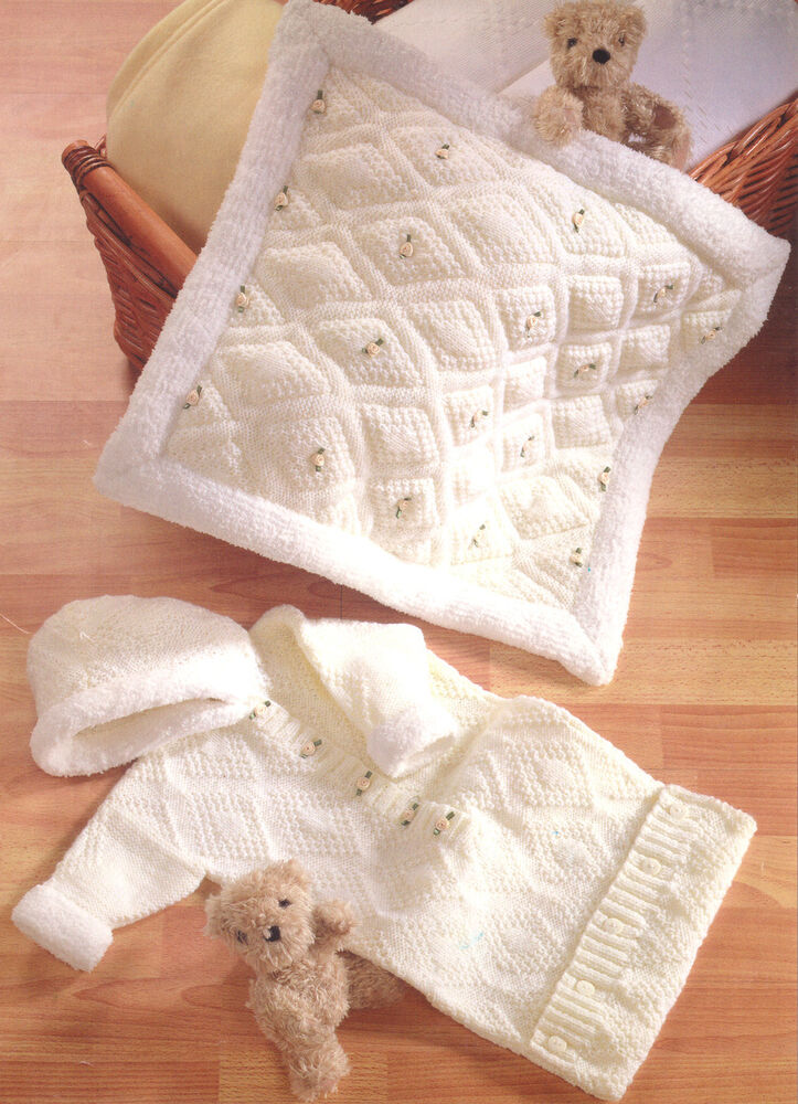 Knitting Pattern Baby Hooded Blanket : Hooded Baby Sleeping Bag Padded Blanket Knitting Pattern DK Easy Knit 16