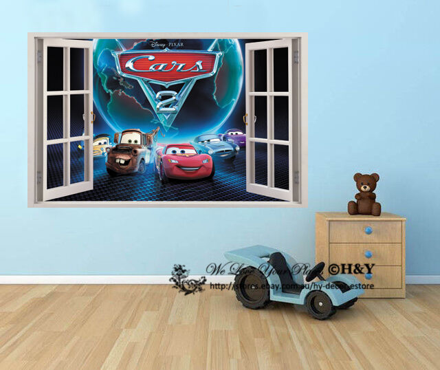 Disney pixar cars 2 mcqueen mater 3d window kid removable for Disney pixar cars wall mural
