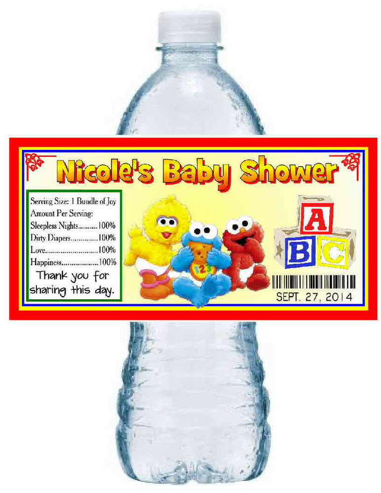 20 baby sesame street baby shower favors water bottle labels waterproof ink ebay - Sesame street baby shower ...