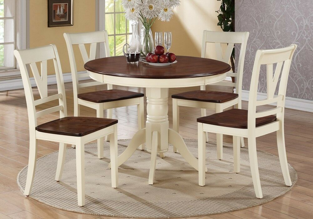 5 pc country 2 tone cream cherry wood round dining table for Cream kitchen set