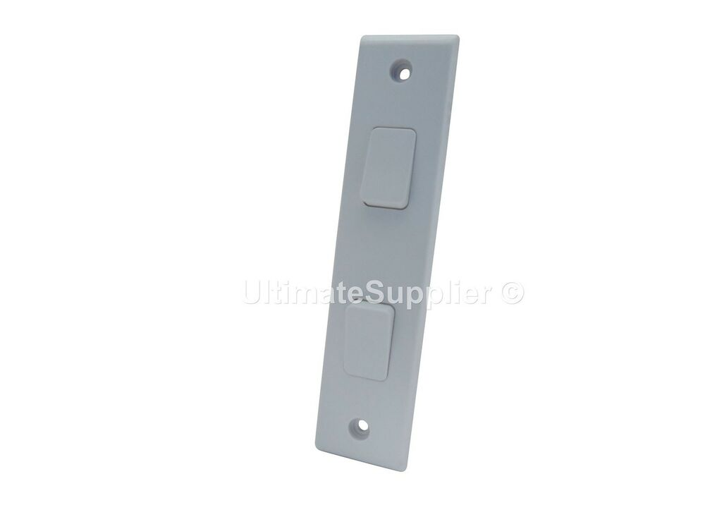 2 Gang Architrave Switch 2 Way Double Light 10a White Slim Electric Small Thin