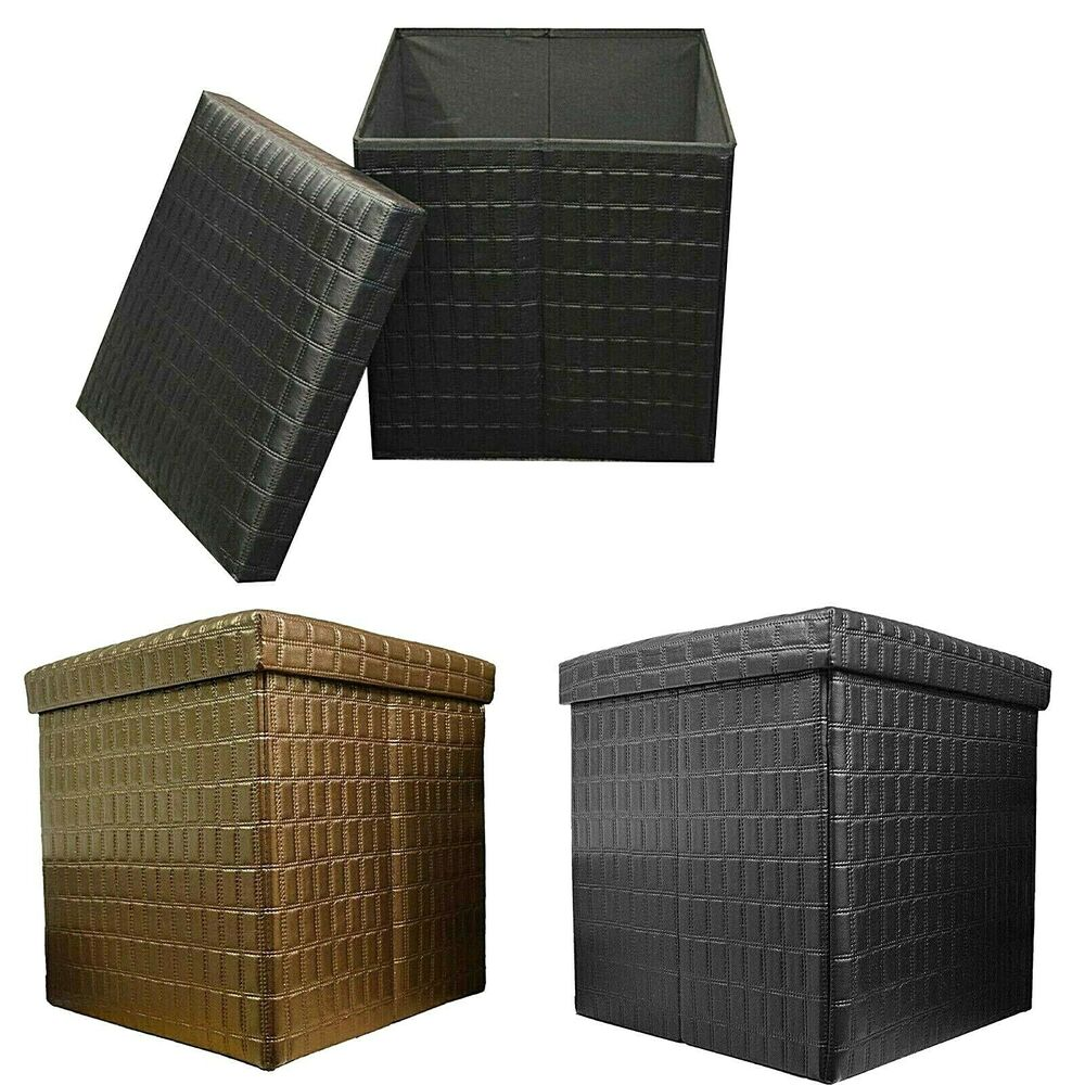 Double and single quilted foldaway pu ottoman storage for Double storage ottoman bench